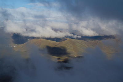 "The Colorado Gulch ""massif"" and Hailey through the clouds."