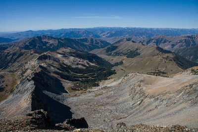 Looking down the Corral Creek traverse (left ridge) into the headwaters of corral creek from the Salzburger Spitzl.