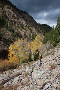 Rugged hiking up Trail Creek.
