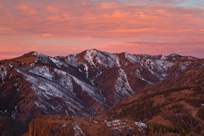 Sunrise over the burned flanks at the head of Adams Gulch.