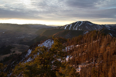 Burned trees and Bald Mountain.