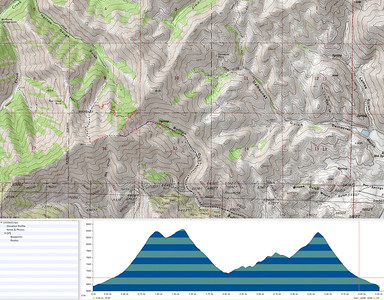 Here's a map of the route (red = hiking blue = skiing).  Bullion and Democrat are out Croy Canyon west of Hailey, ID.