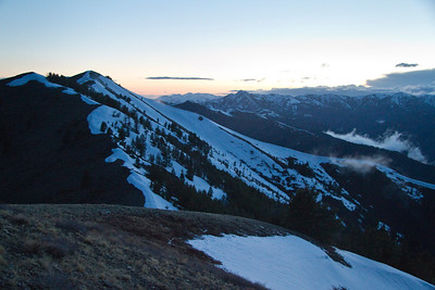 9:09 PM - we caught some of the last light in the west as we topped out.
