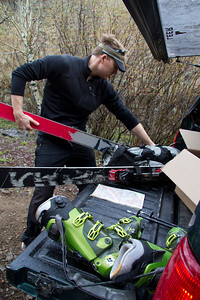 6:01 PM - Greg V. strapping skis to the pack