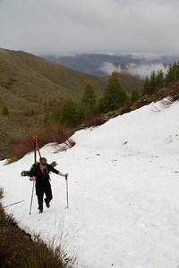 A long ribbon of snow extended down the north side for about 800-feet to the old mining road.