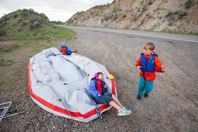 Deflating the raft on Highway 20.