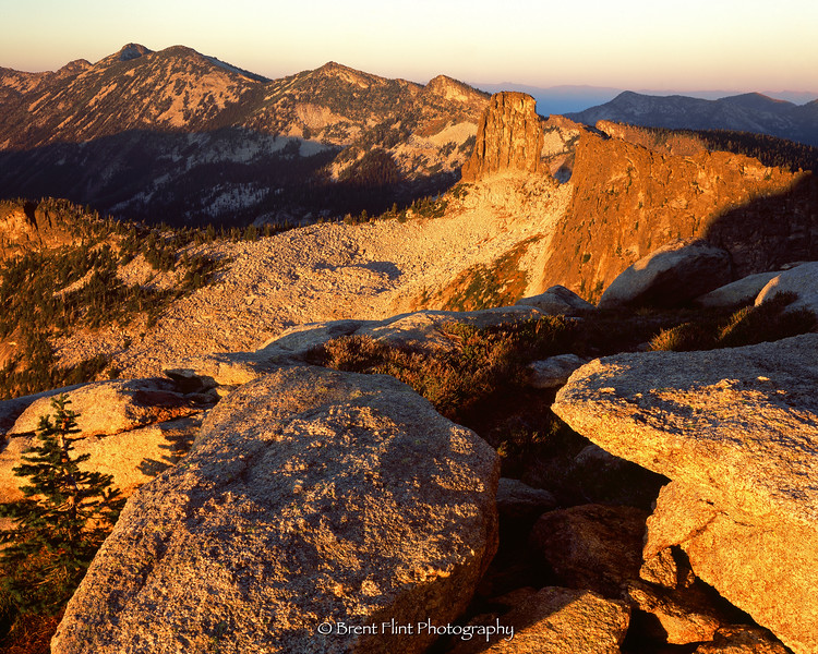 S.4900 - Chimney Rock and the Selkirk Crest at sunset,  Kaniksu National Forest, ID.