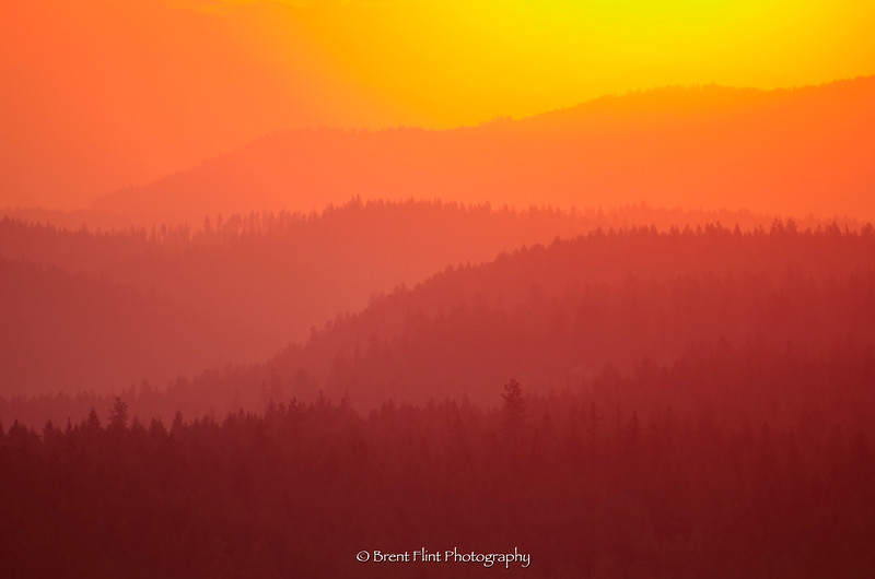 DF.4767 - sunrise over stacked mountains from Athol Ridge, Bonner County, ID.