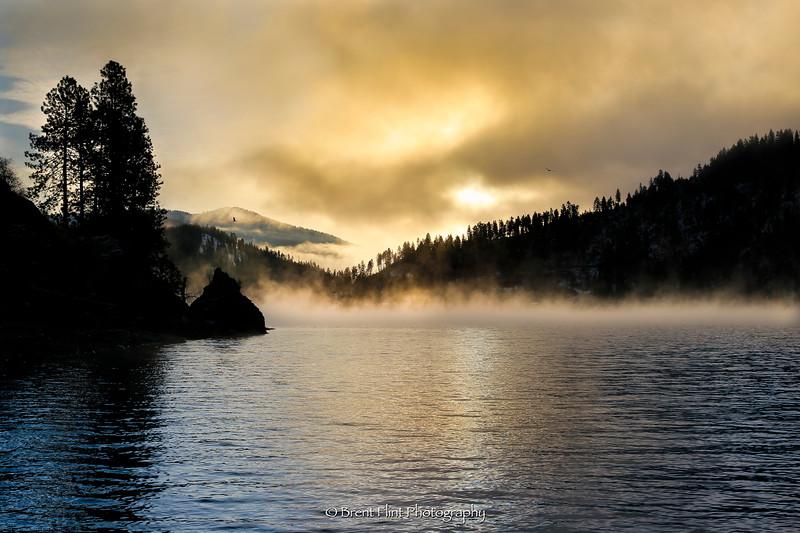 DF.4440 - sunrise through fog, Wolf Lodge Bay, Lake Coeur d'Alene, ID.
