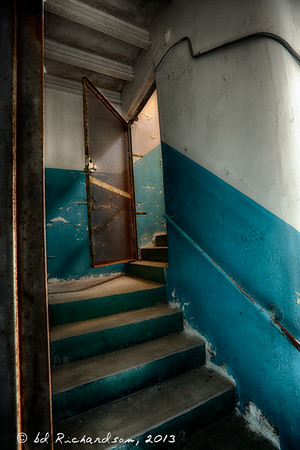 Back and Blue Stairwell