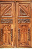 Carved wooden doors of the Iglesia Saraguro.