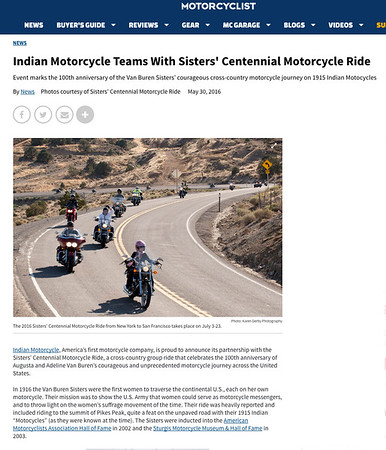 MotorcylistOnLine.com article on <br /> 2016 Sisters' Centennial Motorcycle Ride