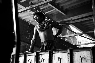 A laborer looks out from the bed of his truck at the Calcutta flower market. Leica M9, 50mm.