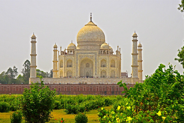 Taj Mahal from Mehtab Bagh Gardens north of the complex
