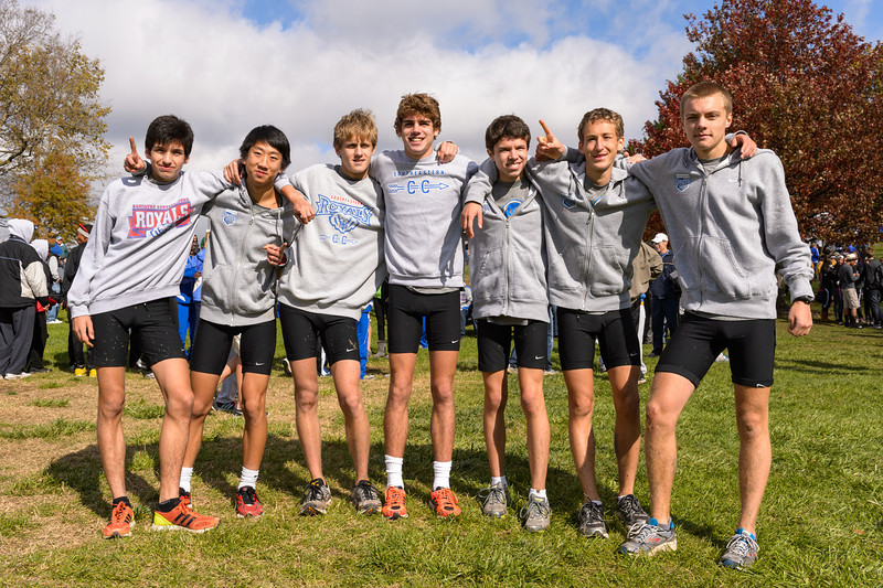 Hamilton Southeastern's winning team at the IHSAA Boys Cross Country Carmel Semi-State at Northview Christian Church in Carmel, Indiana on Saturday, October 20, 2012.  Team members:  Troy Reeder, Greg Murphy, Alex Zoumbaris, Stephen Cho, Drew Barclay, Kyle Sams and Troy Chapman.
