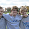Hamilton Southeastern won the IHSAA Boys Cross Country Carmel Semi-State at Northview Christian Church in Carmel, Indiana on Saturday, October 20, 2012. Greg Murphy finished 3rd (left), Troy Reeder won the race (middle) and Alex Zoumbaris (right) finished 5th.