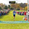 Troy Reeder of Hamilton Southeastern crosses the finish line to win the IHSAA Boys Cross Country Carmel Semi-State at Northview Christian Church in Carmel, Indiana on Saturday, October 20, 2012.  Troy's official time was 15:45.2.  Kirk Taylor/For the Star