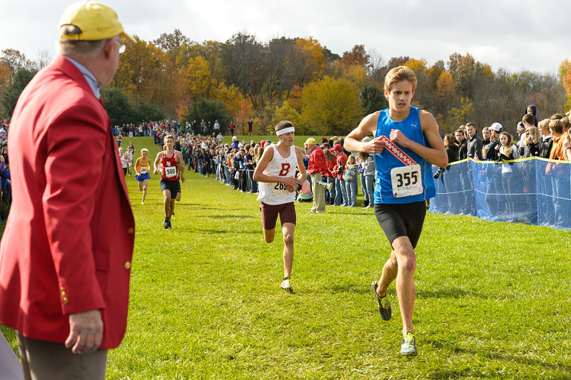 Alex Zoumbaris (355) of Hamilton Southeastern finishes fifth and Zack Snider (265) of Brebeuf Jesuit finishes sixth in the IHSAA Boys Cross Country Carmel Semi-State at Northview Christian Church in Carmel, Indiana on Saturday, October 20, 2012.  Kirk Taylor/For the Star