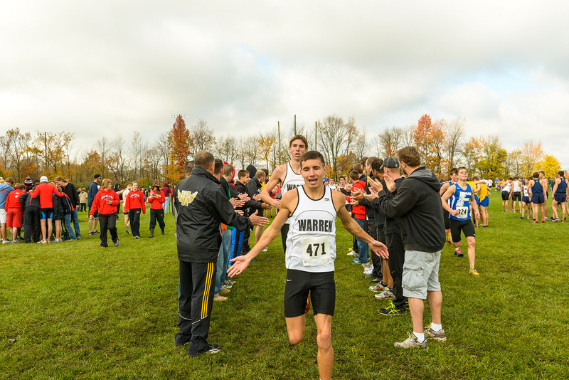 Lee Justice of Warren Central gets support from the Warren fans before the race in the IHSAA Boys Cross Country Carmel Semi-State at Northview Christian Church in Carmel, Indiana on Saturday, October 20, 2012.  Kirk Taylor/For the Star