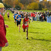 Samual Tebeje (388) of Pike finishes second and Greg Murphy (351) of Hamilton Southeastern finishes third in the IHSAA Boys Cross Country Carmel Semi-State at Northview Christian Church in Carmel, Indiana on Saturday, October 20, 2012. Samual's time was 16:00.5 and Greg ran 16:01.   Kirk Taylor/For the Star