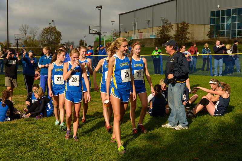 The victorious Carmel girls team walks out of the finishing area after winning the IHSAA Girls Cross Country Carmel Semi-State at Northview Christian Church in Carmel, Indiana on Saturday, October 20, 2012.  Kirk Taylor/For the Star