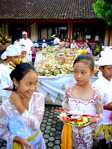 Girls at Village Ceremonial Occasion in Ubud