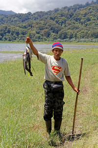 Proud Fisherman at Lake Tamblingan, Bali, Indonesia