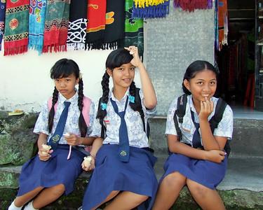 Schoolgirls enjoying icecream