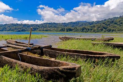 Traditional Carved Boats on Lake Tamblingan, Bali, Indonesia