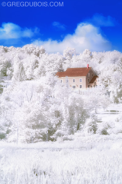Scenic Massachusetts with White Forest and Hillside House in Boxford