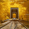 Historic Railroad Trestle in White Mountains New Hampshire with Infrared