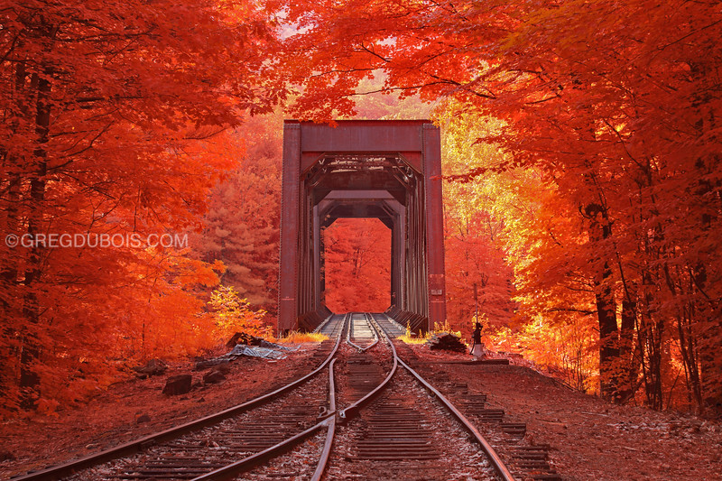 Historic Railroad Trestle in White Mountains New Hampshire with Kodak Aerochrome