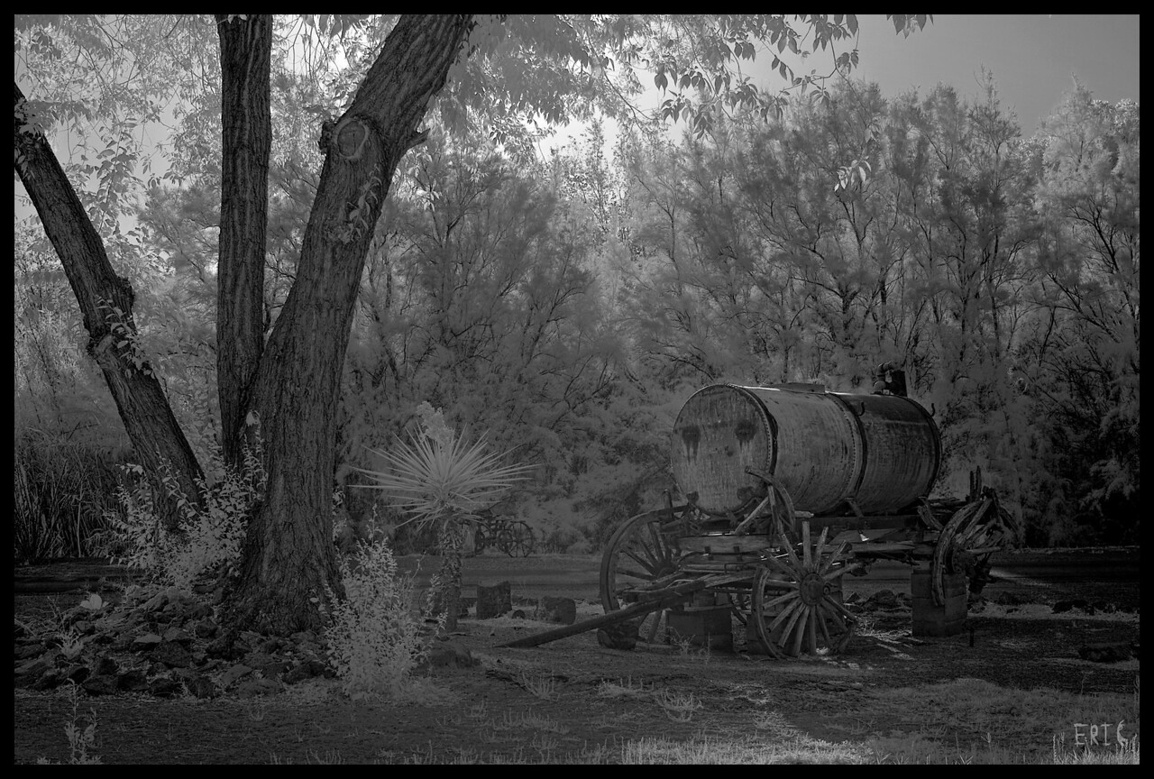 Old El Paso Water Cart<br /> <br /> Date:April 29, 2012<br /> <br /> Camera: Full Spectrum converted Canon 40D<br /> Lens: Canon EF24-70 f2.8L<br /> Filter:77mm R72 (720nm)<br /> Tripod: Induro AT313 with BH-2 Ball Head<br /> Exposure: ISO 100, f8.0 - Combination of 4 bracketed exposures