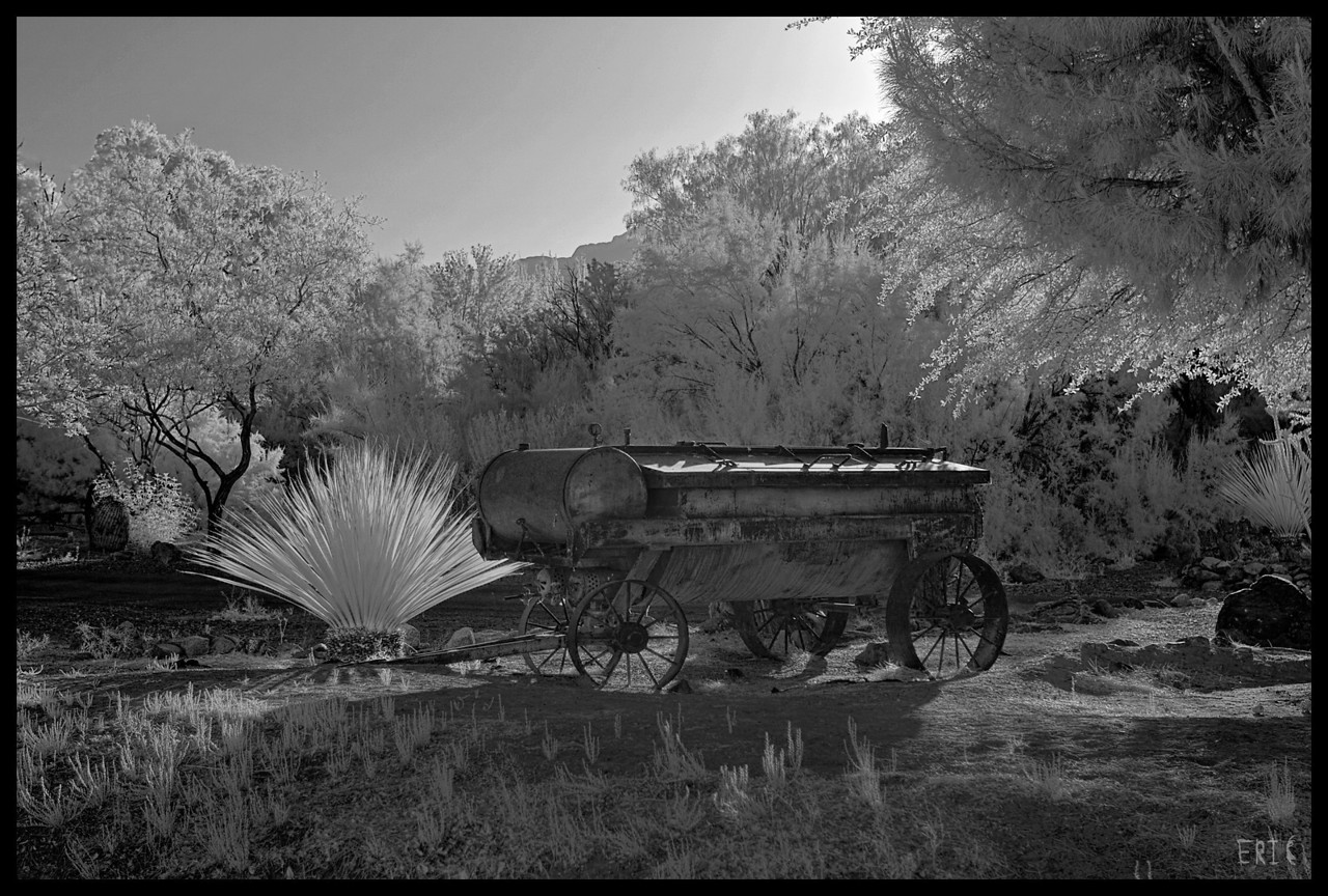 Old Wagon at Sunrise<br /> <br /> Date:April 29, 2012<br /> <br /> Camera: Full Spectrum converted Canon 40D<br /> Lens: Canon EF24-70 f2.8L<br /> Filter:77mm R72 (720nm)<br /> Tripod: Induro AT313 with BH-2 Ball Head<br /> Exposure: ISO 100, f3.5 - Combination of 3 bracketed exposures