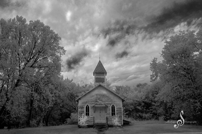 An Infrared Photo Of An Abandoned Church - September 25, 2020