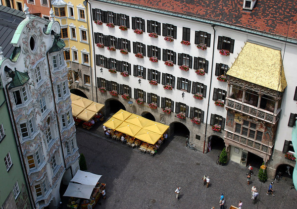 Goldenes Dachl (Golden Roof) - built by Archduke Friedrich IV in the early 15th century - it is a three-story balcony on the central plaza at the heart of the Old Town (Alstadt) - Innsbruck