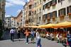 Streets of Altstadt (Old Town) - directly below the Goldenes Dachl (Golden Roof) - the corner street of Herzog Friedrich Straße - Innsbruck
