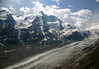 Grossglockner, the highest peak in Austria, rising to 12,461 ft. (3,798 m) - with the Pasterze Glacier at its eastern base, which is the longest glacier in Austria, measuring about 5.2 mi. (8.4 km) long, and is about 400 ft. (120 m) thick, however it decreases about 33 ft. (10 m) in length per year - located in the very northwestern section of Carinthia (state), between the borders of Salzburg (north) and Tyrol (south) - Hohe Tauern National Park