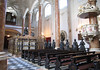 Court Church - marble pillars, pews, pulpit, Maximilian's cenotaph (empty tomb) surrounded by 28 bronze statues of ancestors, relatives, and heros - and the pipe organ - Innsbruck