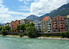 Northwest view across the Inns River - to residential housing of Innsbruck - to the Nordkette Range beyond.