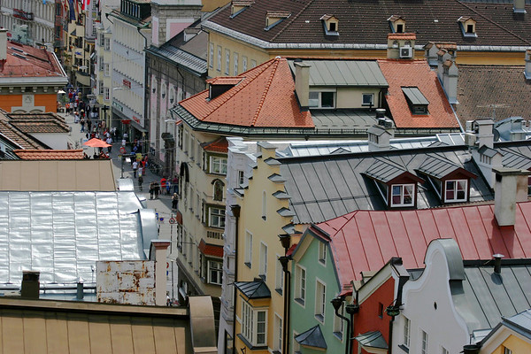 Old Town Innsbruck - Herzog Friedrich Straße (street) - from the Stadtturm (City Tower)