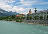 Across the Inns River - towards Altstadt (Old Town) - with the two steeples of the St. Jacobs Cathedral - Innsbruck - with the distal snow-capped Nordkette Range