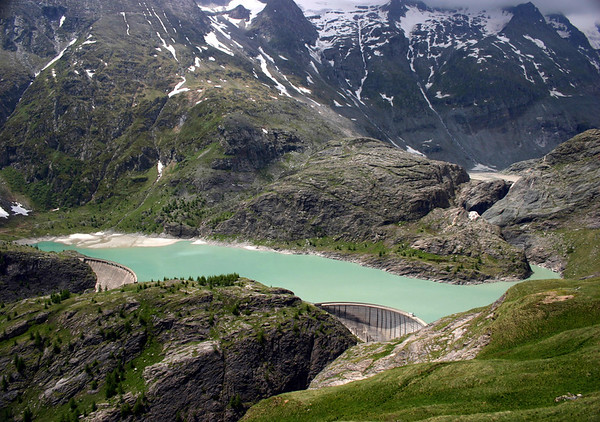 Margartizen Stausee - reservoir or catchment lake, for the Pasterze Glacier - with the southeastern base of the Grossglocker beyond - Hohe Tauern National Park