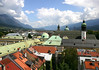 Across the Hofburg Imperial Palace Dome - Jesuit Church Steeples and Dome - and the Court Church Steeple - from the Staddturm (City Tower) - Innsbruck