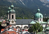 Steeples and Dome of the Dom St. Jakob (St. Jacobs Cathedral) - with the forested Nordkette Range in the background - Innsbruck