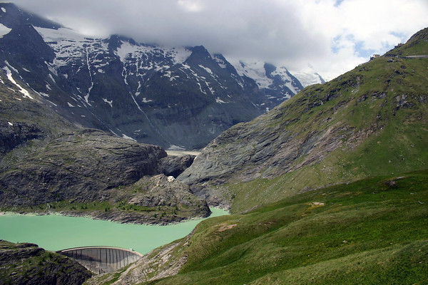 Margartizen Stausee (reservoir, for the Pasterze Glacier) - viewing northwest towards the partially cloud-covered eastern slopes of Gross Glockner - Hohe Tauern National Park
