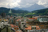 SW view to the Bergisel Ski Jump - from the Stadtturm - Innsbruck - with the Lampermahdspitz among the cumulus clouds.