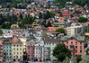 Northwest view from the Stadtturm (City Tower) - residential area along the lower slopes of the Nordkette Range - Innsbruck