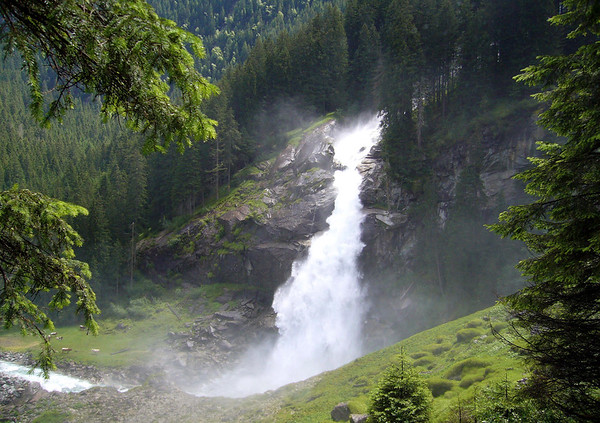 Krimmler Waterfall - flowing into the Kimmler Ache, at the base of the 1,247 ft. (380 m), 3-tiered or cascading waterfalls - the tallest waterfalls in Austria - Hohe Tauern National Park