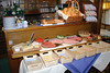 Breakfast (cheeses, meats, breads, grapes, melon) at the Pension Alpenrose - Zell am See